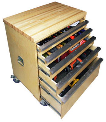 Drawers-on-Wheels-Dovetail-Cabinet-Shown-with-Tools