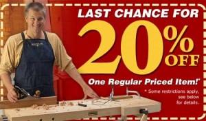 Save 20% at Rockler on One Regular Priced Item