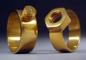 Kiley Granberg Gold Nut & Bolt Wedding Bands