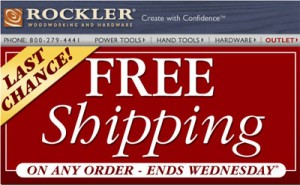 Rockler Free Shipping Until April 7th