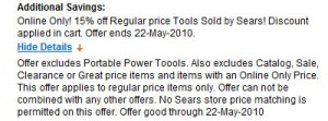 15% Discount on Tools at Sears Thru 5/22