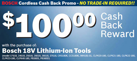 $100 Rebate on Bosch 18V Lithium Ion Tools