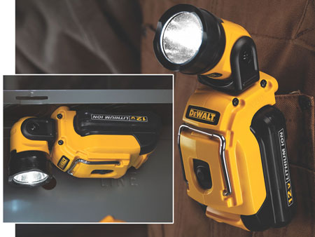 Dewalt DCL500 12 Volt Max Lithium Ion Cordless Work Light Showing Magnet and Belt Clip