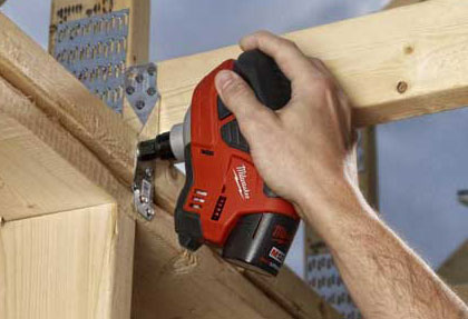 Milwaukee M12 Cordless Palm Nailer Overhead Use