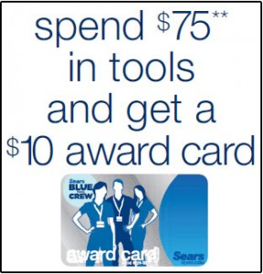 Get $10 Card for Each $75 in Tools You Buy at Sears