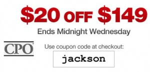 CPO Outlets 20 off 149 Coupon Oct 2010