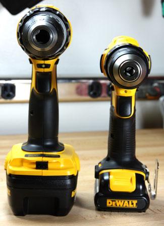 Dewalt 12V Max Cordless 3-8 Drill Driver DCD710S2 vs 18V Drill Handle Thickness