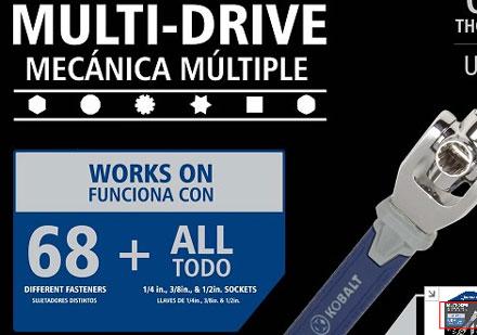 Kobalt Multi-Drive Wrench Dog Bone Tool 68 Different Fasteners