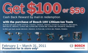 Coptool Ohio Power Tool Bosch Rebate Promotion March 2011