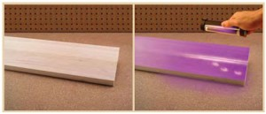 Titebond II Fluorescent Wood Glue Makes Dried Glue Spots Stand Out