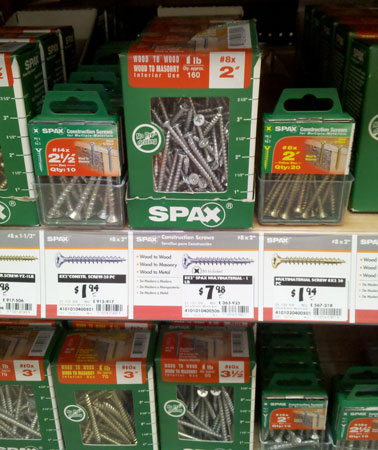 Spax Screws at Home Depot Closeup
