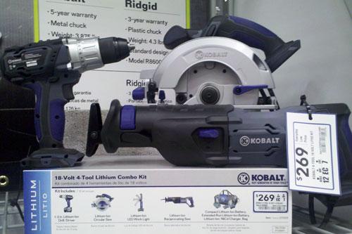 Lowes Kobalt Cordless Power Tools 18V Lithium Ion Combo Kit