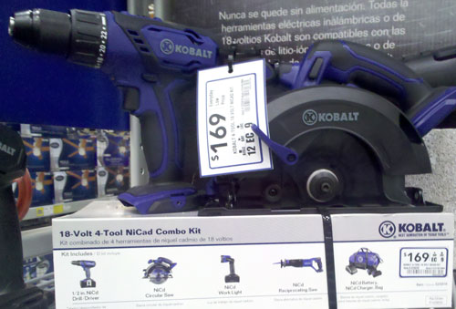 Lowes Kobalt Cordless Power Tools 4-Piece NiCad Combo Kit