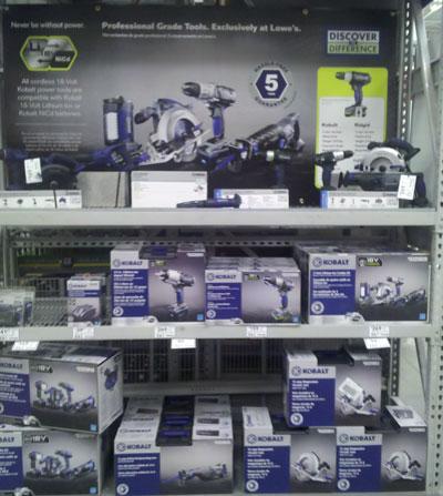 Lowes Kobalt Cordless Power Tools Display