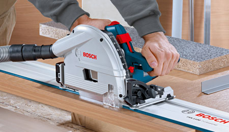 Bosch Plunge Saw Is Optimized For Use With Guide Rails