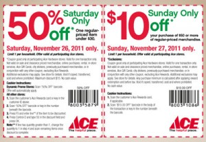 Ace Hardware Black Friday Weekend 50% and $10 Coupon