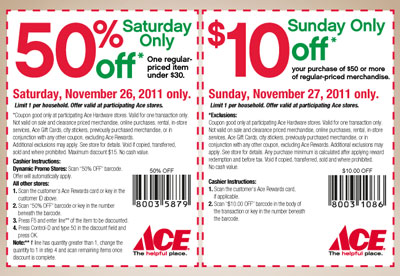 graphic relating to Ace Hardware Printable Coupon named Ace Components Black Friday Weekend 50% and $10 Coupon