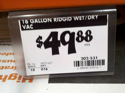 Ridgid 16 Gallon Wet Dry Shop Vac At Home Depot For 50
