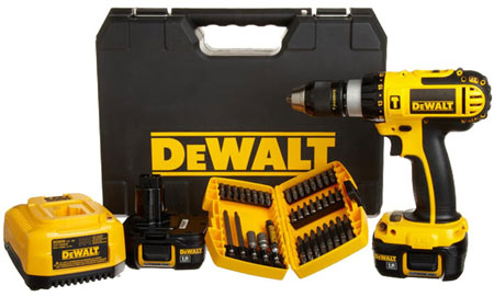Dewalt 18v Li Ion Hammer Drill Kit With Accessory Set Deal
