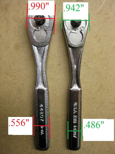 Craftsman Raised Panel Ratchet Comparison Front Dimensions
