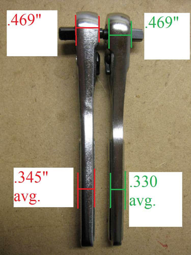 Craftsman Raised Panel Ratchet Comparison Side Dimensions