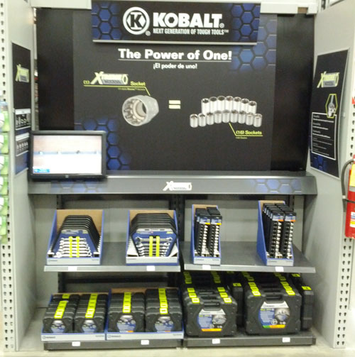 Kobalt Xtreme Access Wrenches and Sockets Display