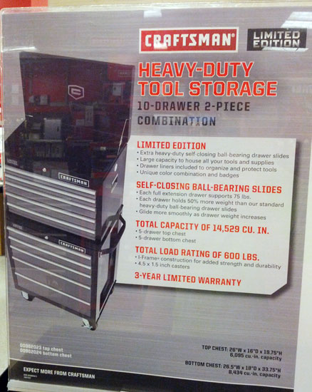 Craftsman Limited Edition Ball Bearing Tool Chest Ad