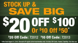 Woodcraft $10 off $50, $20 off $100 Coupon