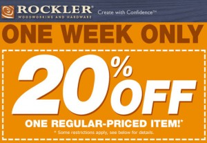 Rockler 20%-off One Regularly Priced Item Coupon