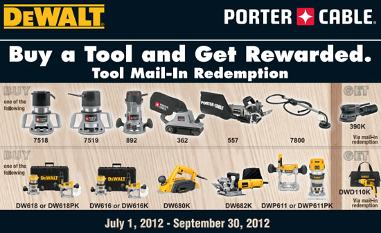 Dewalt and Porter Cable Free Tool Promo Sept 12