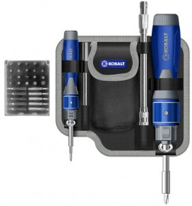 'Kobalt Double Drive Screwdriver Set Free Special Bonus Pouch' from the web at 'http://toolguyd.com/blog/wp-content/uploads/2012/10/Kobalt-Double-Drive-Screwdriver-Set-Bonus-Pouch-281x300.jpg'