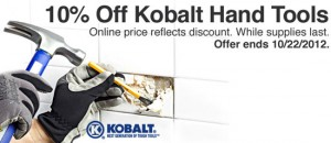 'Save 10% off Kobalt Hand Tools' from the web at 'http://toolguyd.com/blog/wp-content/uploads/2012/10/Kobalt-Hand-Tool-Sale-Oct-2012-300x130.jpg'