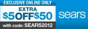 Sears 2012 $5 off $50 Coupon