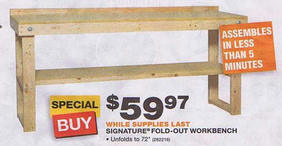 wooden work bench home depot