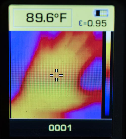 Dewalt Thermal Imager on-Screen Image of Hand