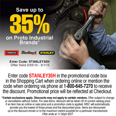 Save up to 35% on Stanley, Proto, & Blackhawk Tools at MSC