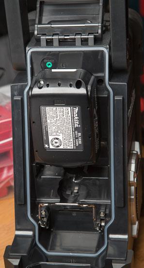 Makita Jobsite Radio LXRM03B Battery Compartment