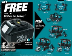 Free Makita 18V LXT Li-ion Battery with Select Kit Purchases