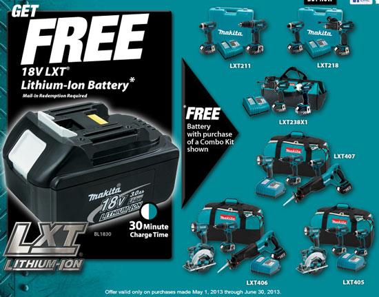 Makita 18V LXT Free Battery Promo May June 2013