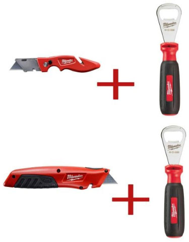Milwaukee Utility Knife and Bottle Opener Combos