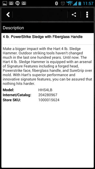 Home Depot Pro App Hart Hammer Description