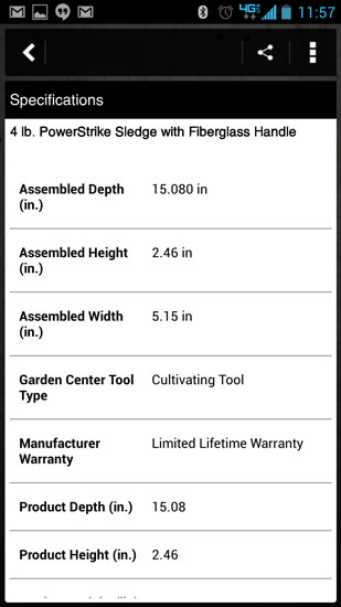 Home Depot Pro App Hart Hammer Specs