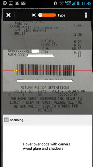 Home Depot Pro App Receipt Scanning Fail
