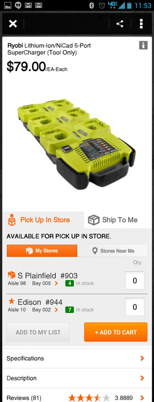 Home Depot Pro App Ryobi Charger Product Page