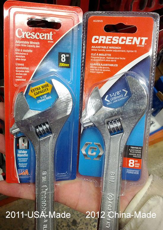 Crescent Wrench Comparison USA vs China 2011