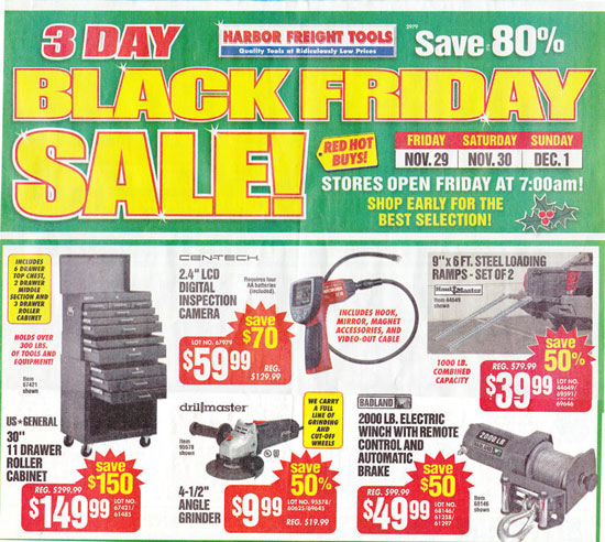 Harbor freight 11 drawer roller cabinet tool box mf cabinets for Black friday deals on kitchen cabinets