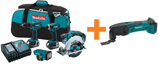 Makita 18V Cordless Power Tool Kit with Free Bonus Tool