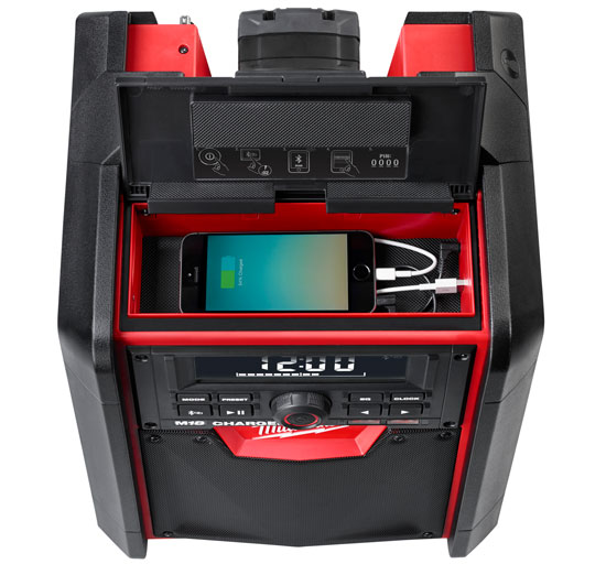 Milwaukee M18 Bluetooth Jobsite Radio Media Compartment