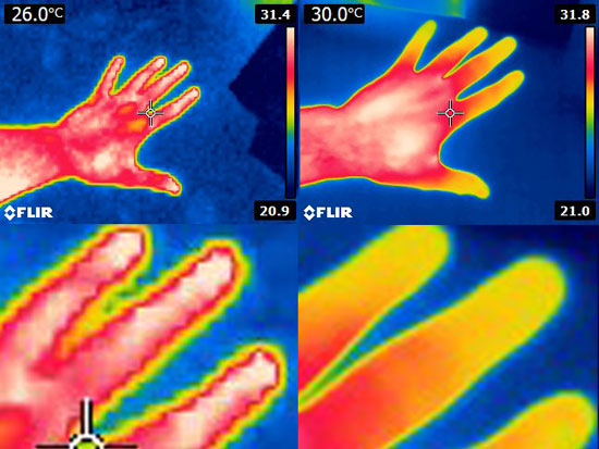 "Modified Flir E4 Thermal Imaging Camera ""Before"" and ""After"" Image Comparison"
