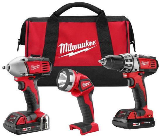 Milwaukee M18 Compact Drill Impact Wrench Flashlight Combo 2691-23